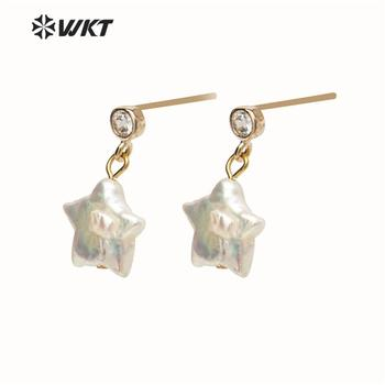 WT-E531 Baroque Pearl Earring Star Shape Pendant Earring Sparkly Exquisite Star Earring Women Fashion Earring Jewelry фото