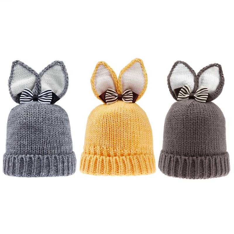 Winter Newborn Baby Warm Hat Kawaii Rabbit Ears Baby Knitted Hat Skullies Fashion Kids Boys Girls Beanie Caps with Warm Lining