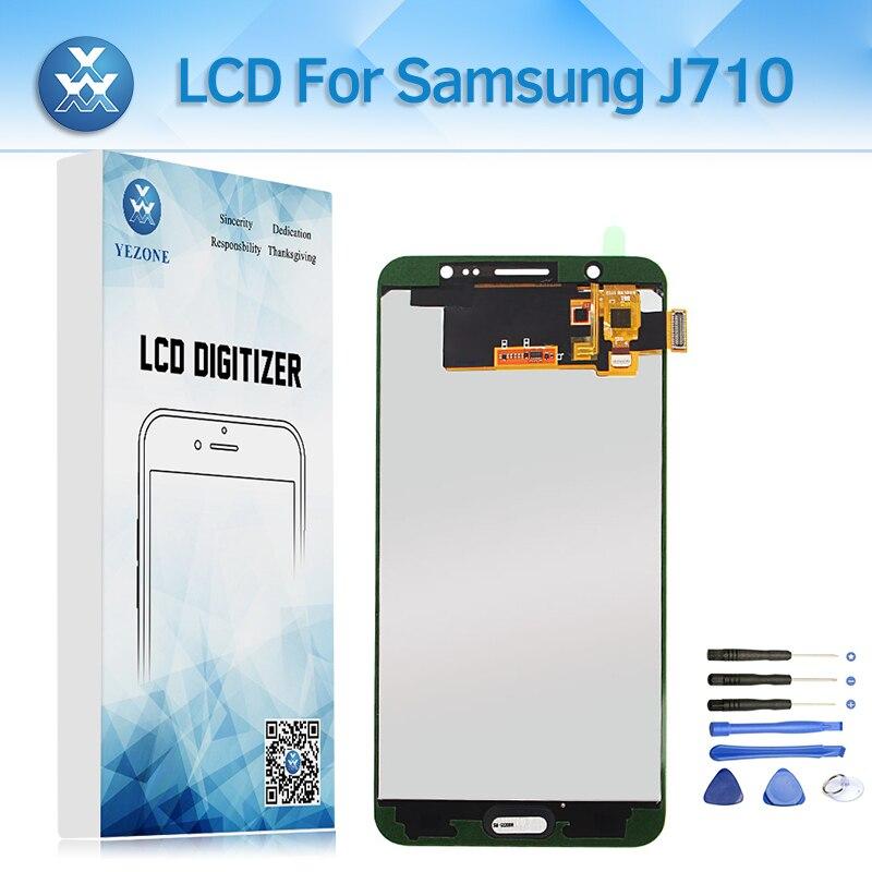 Régler la Luminosité LCD pour Samsung Galaxy J7 2016 J710 SM-J710FN LCD Affichage à L'écran Tactile Digitizer Assemblée pour J710A J710M + outil