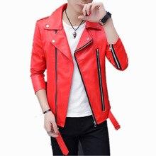2020 Autumn Casual Oblique Zipper belt Faux Leather Men Jacket Motorcycle Leathe