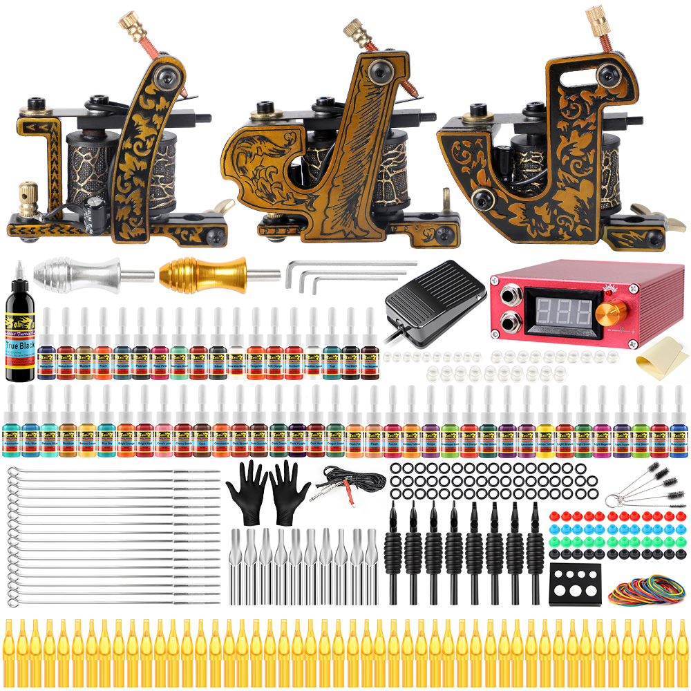 Solong Tattoo Complete Tattoo Kits 3 Pro Coil Machine Guns For Shader & Linner Power Supply Foot Pedal Grip Tip Ink Set TKC03 complete tattoo kits pro gun machine power pedal 10 color ink sets power supply disposable needle grip tip quality new arrival
