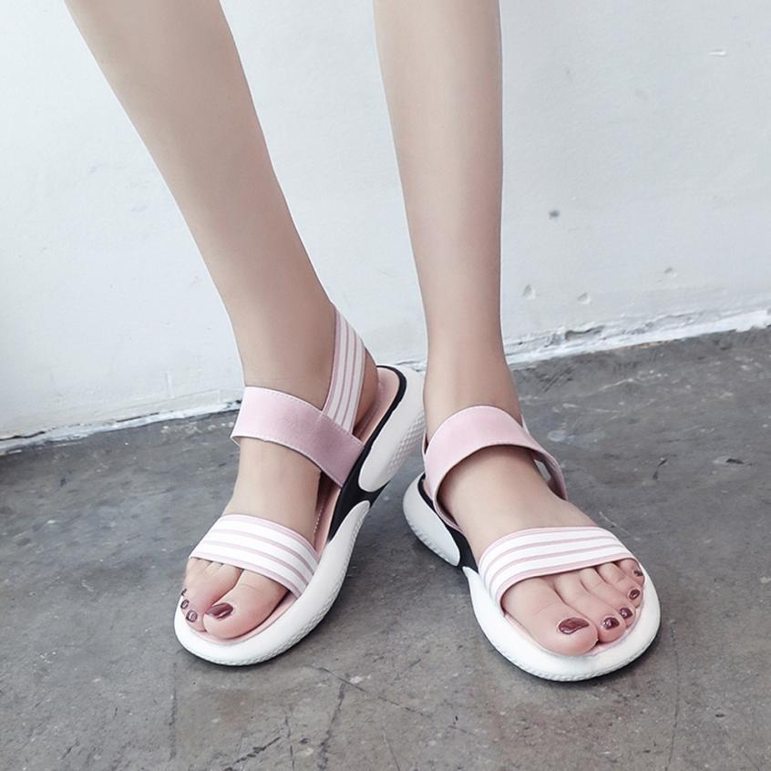 mokingtop womens sandals flat summer Fashion Women Cloth Shake Shoes Summer Sandals Round Toe Stripe Flat Shoes ##