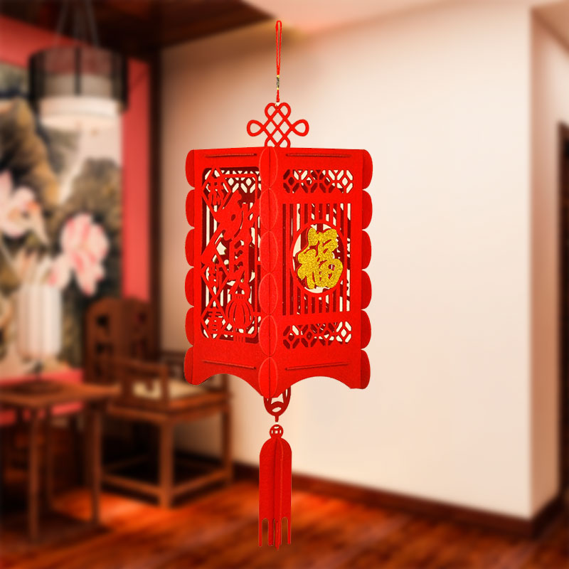 2020 New Year Chinese Lantern Chinese 3D Red Lantern Traditional Non-Wovenl Fabric Christmas Party Door Home Decoration Gift