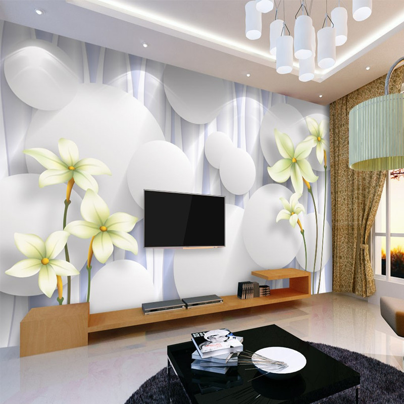 beibehang Custom 3d stereoscopic mural papel de parede lily TV background wallpaper Non-woven living room bedroom wall paper  custom wallpaper 3d a couple of peacock murals for the living room bedroom tv background wall waterproof papel de parede