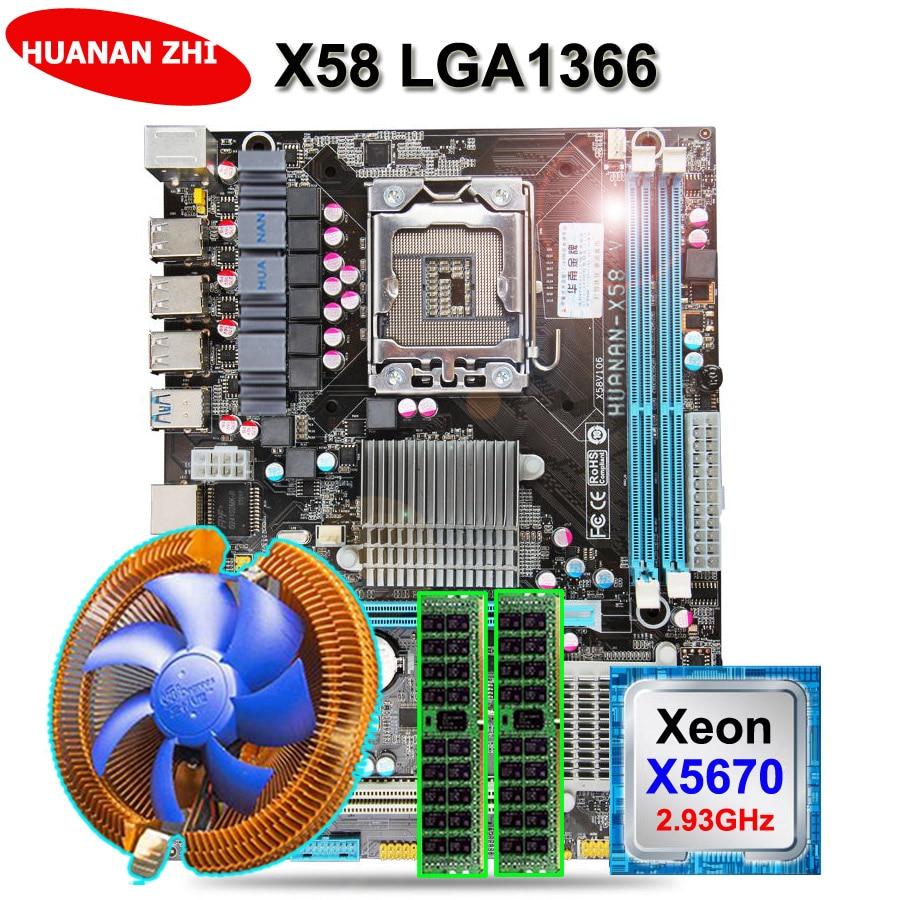 Descuento placa base HUANAN ZHI X58 placa base paquete con CPU Intel Xeon X5670 2,93 GHz con enfriador RAM (2 * 8G) 16G DDR3 REG ECC