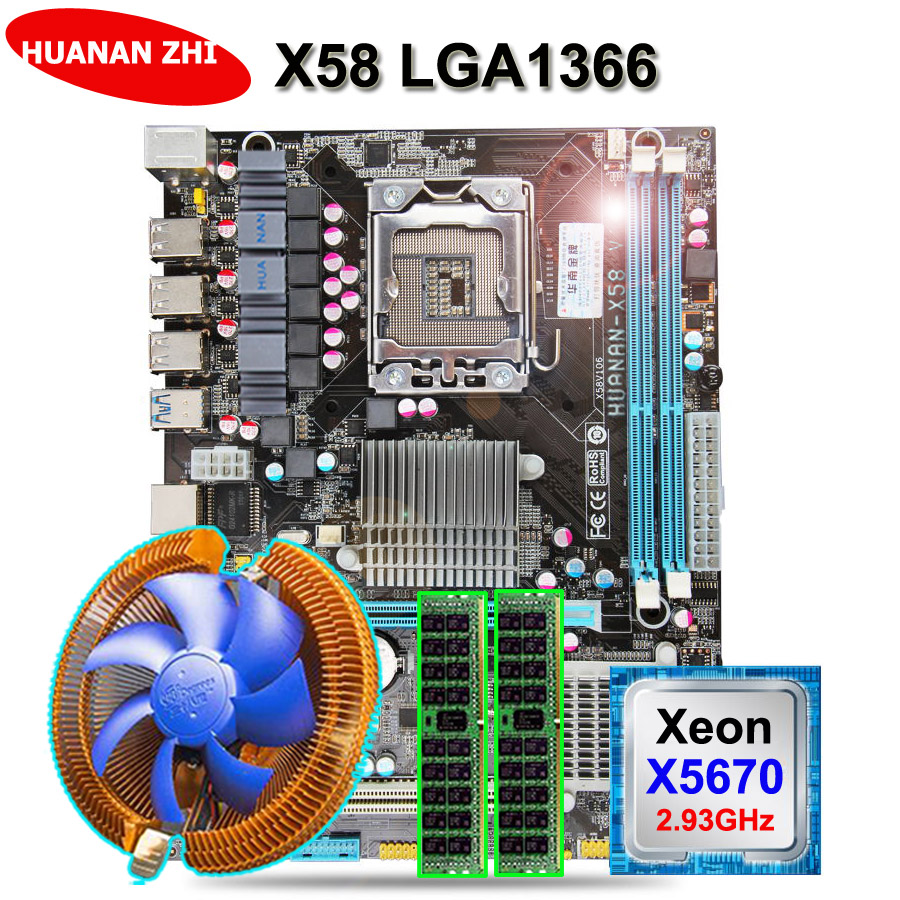 Discount Motherboard HUANAN ZHI X58 Motherboard Bundle With CPU Intel Xeon X5670 2.93GHz With Cooler RAM (2*8G)16G DDR3 REG ECC