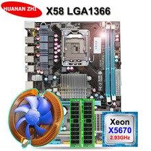 Горячие HUANAN Чжи X58 материнской процессор баран набор USB3.0 LGA1366 материнской платы процессора Intel Xeon X5670 с охладитель оперативной памяти (2*8 г) 16 г DDR3 RECC