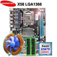 Remise carte mère HUANAN ZHI X58 paquet de carte mère avec CPU Intel Xeon X5670 2.93GHz avec refroidisseur RAM (2*8G) 16G DDR3 REG ECC