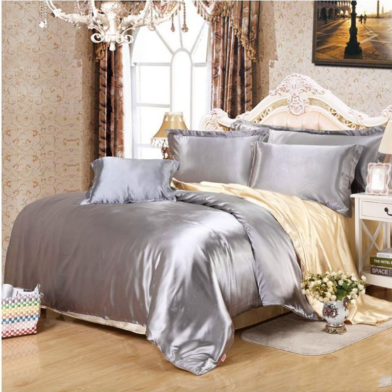 Attractive solid white/black/gold/gray satin duvet cover Twin/Queen/King 4pcs  LK86
