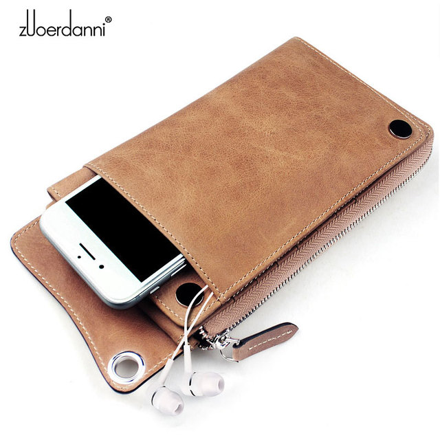 High Quality Men s zipper wallet cowhide phone wallets multi functional hand bag cow leather purse A375