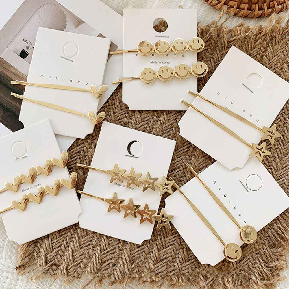 Korea Simple Metal Hairpins for Women Hollow Star Heart Shape Hair Clips Elegant Hairpins Barrette Hair Styling Tool Accessories
