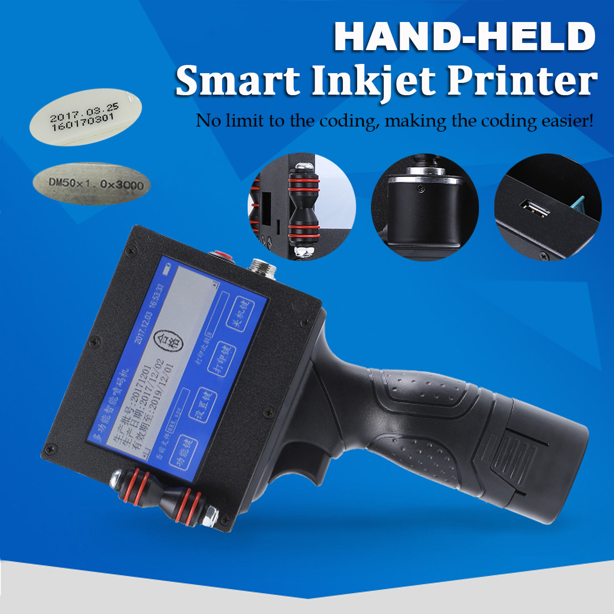 Handheld Intelligent Date Coder Inkjet Printer Ink Coding Machine + Cartridge