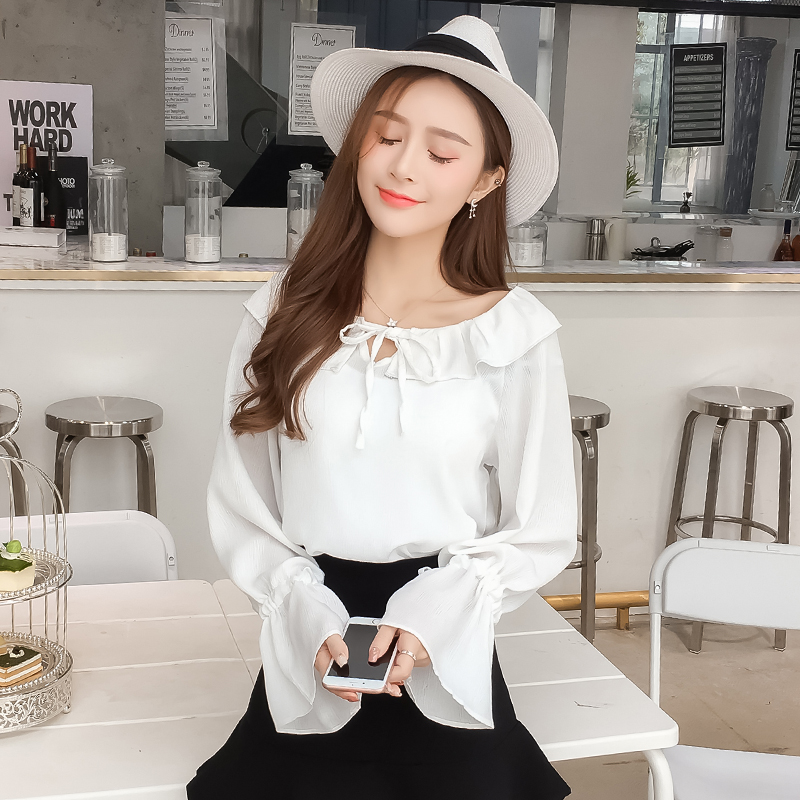 women ruffled slash neck lantern sleeve chiffon blouse 2018 solid white red fashion top femme blusa lace up casual off shoulder