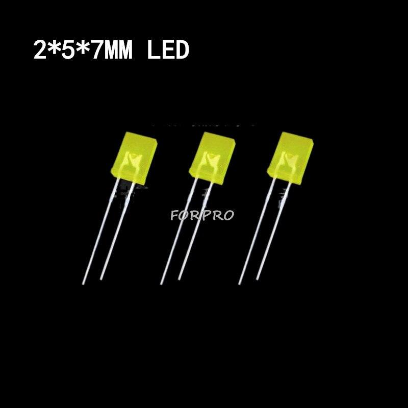 10PCS 2*5*7mm 2Pin Square Green Light LED Light-emitting Diode