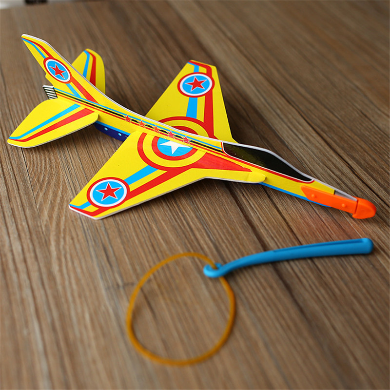 Random color Stretch Flying Glider Planes Aeroplane Childrens Kids Toys Game Cheap Gift DIY Assembly Model Educational Toys