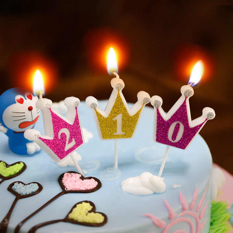 1pcs Glitter Birthday Cake Candle Rose Golden Crown Number Candles For Kids Party Decoration On