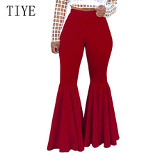 TIYE Women High Waist Wide Leg Pants Summer Bottoms Solid High Elastich Flare Pants Skinny Casual Beach Party Trousers Women