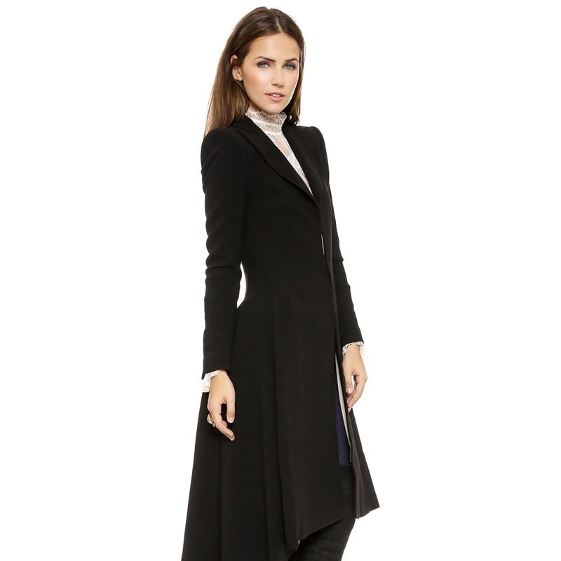 Mode Dames Femmes Haoduoyi Longues coat Manches Mélange Trench À Trench Automne Outwears Black Laine Lady Hiver De Noir Chaud Hdy Manteaux coats EW9e2DYHIb