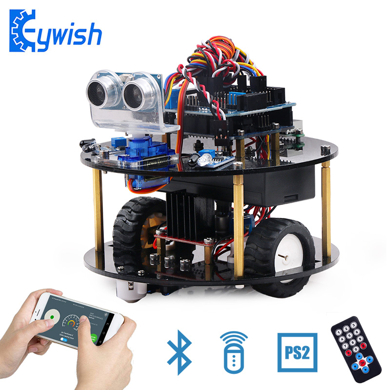Keywish Robot For Arduino UNO R3 Smart Cars Kit APP RC Remote Control PS2 Ultrasonic Bluetooth Module Stem Toys For Children Kid(China)
