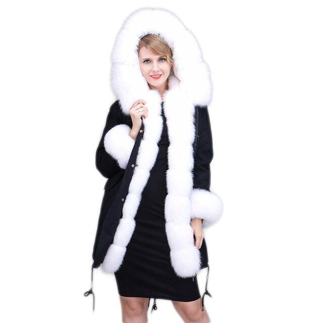 19db999626f3 Real Fur Parka Rex Rabbit Fur Lined Women Winter Jacket Natural Fox ...