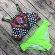 2017 Brazilian Print High Neck Bikini Set Sexy Swimwear Women Padded Top New Design Sports Low