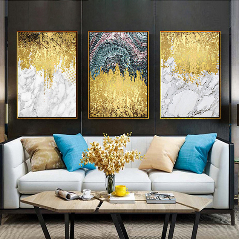 Chinese Style Abstract Nordic Minimalist Gold Flow Marble Modern Decorative Painting Hotel Living Room Bedside Mural Arts