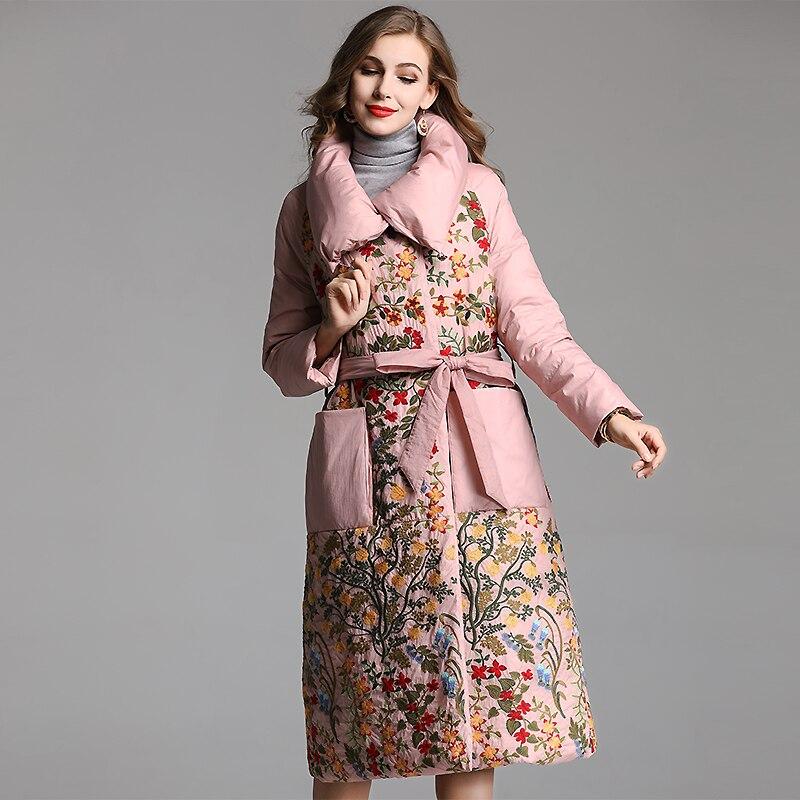 De D'hiver Allover Broderie Femmes Vers Bas 2018 Collar Le Parka Chaud down Survêtement Longue Turn Luxe Rose Black pink Manteau Big Canard Mode Duvet jc54LqS3RA