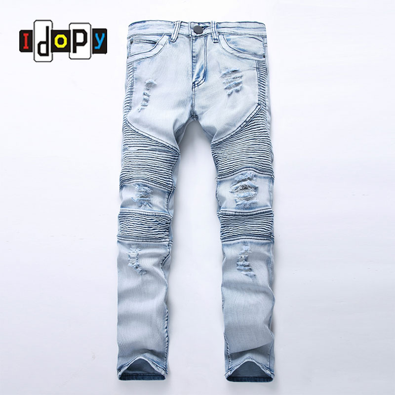 Fashion Men's Blue Ripped jeans Denim Pants Knee Hole Motorcycle Biker Jeans Slim Skinny Destroyed Torn Denim Trousers For Men men s cowboy jeans fashion blue jeans pant men plus sizes regular slim fit denim jean pants male high quality brand jeans