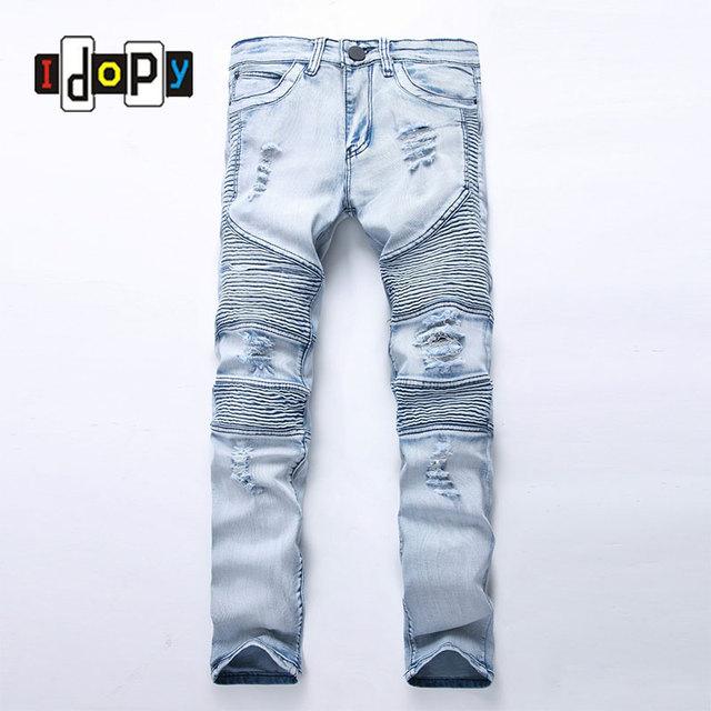 latest design latest fashion new images of € 22.28 42% de réduction|Mode Hommes de Bleu Déchiré jeans Denim Pantalon  Genou Trou Moto Biker Jeans Mince Maigre Détruits Déchiré Denim Pantalon ...