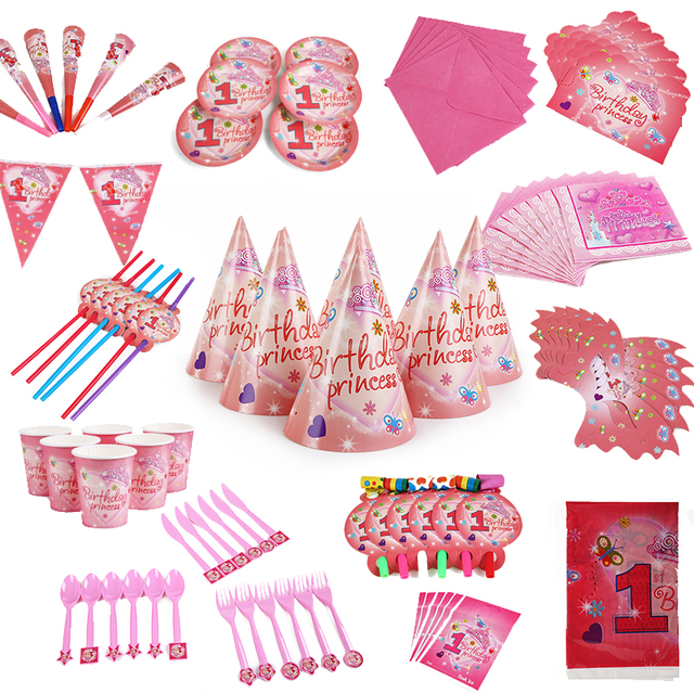 84PCS Wholesale 1st Birthday Princess Theme Paper Party Decoration Baby Happy Wedding Event Supplies
