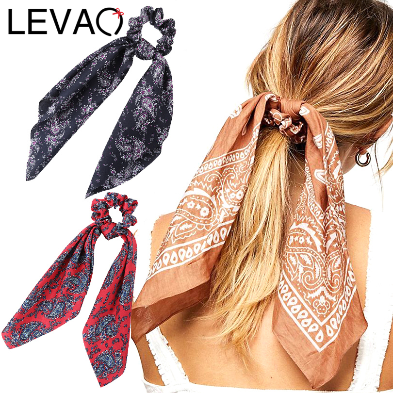 LEVAO Floral Print Scrunchie Women Hair Scarf Elastic Bohemian Hairband Bow Hair Rubber Ropes Girls Hair Ties Accessories