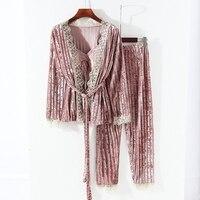 New Collection Women Velour Lace Drawstring 3 Piece Pamaja Set Ladies Soft Cardigan Suits Slim Camisole