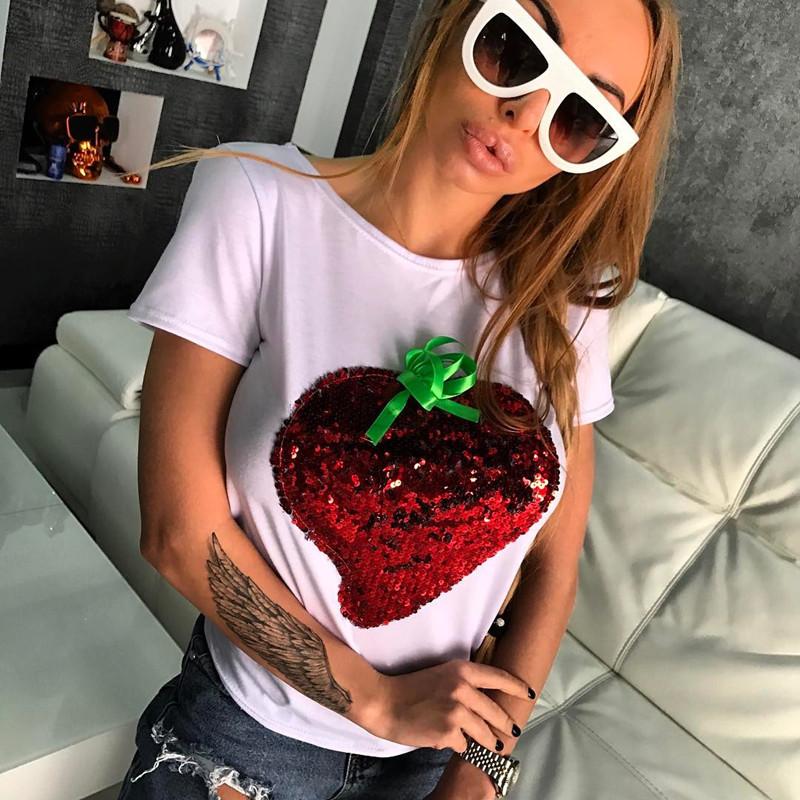 HTB171D4QFXXXXXjapXXq6xXFXXXK - Strawberry Red Sequins Women Casual Short Sleeve Cotton Shirt 2017