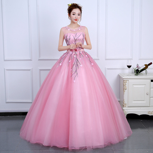Image 4 - 2020 Sweet and Fresh Evening Dress Backless Sleeveless Ball Gown Romantic Flowers Fashion Elegant Performance Party Design