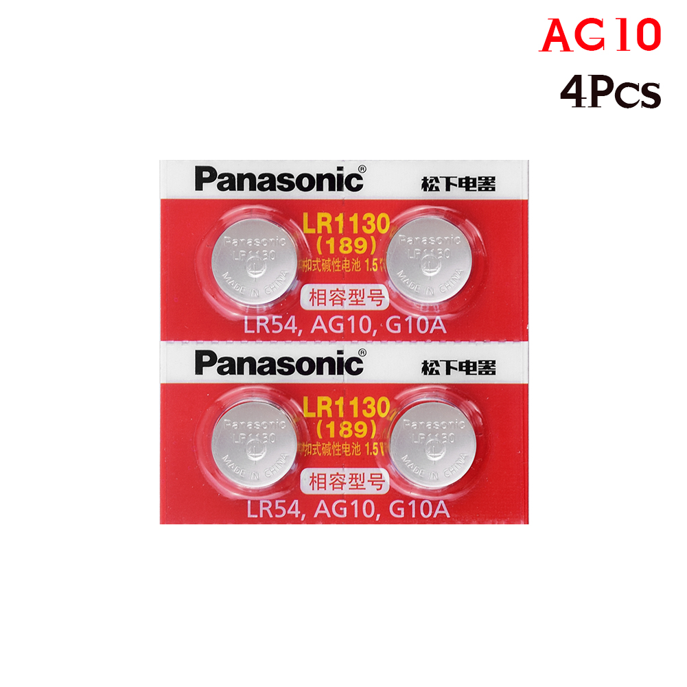 4pcs/lot Panasonic Battery Cell 1.5V AG10 LR1130 Alkaline Button Battery AG10 389 LR54 SR54 SR1130W 189 LR1130 Button Batteries