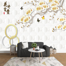 Custom 3D TV background wall paper peach living room bedroom video wall flower open rich wallpaper modern mural wall covering