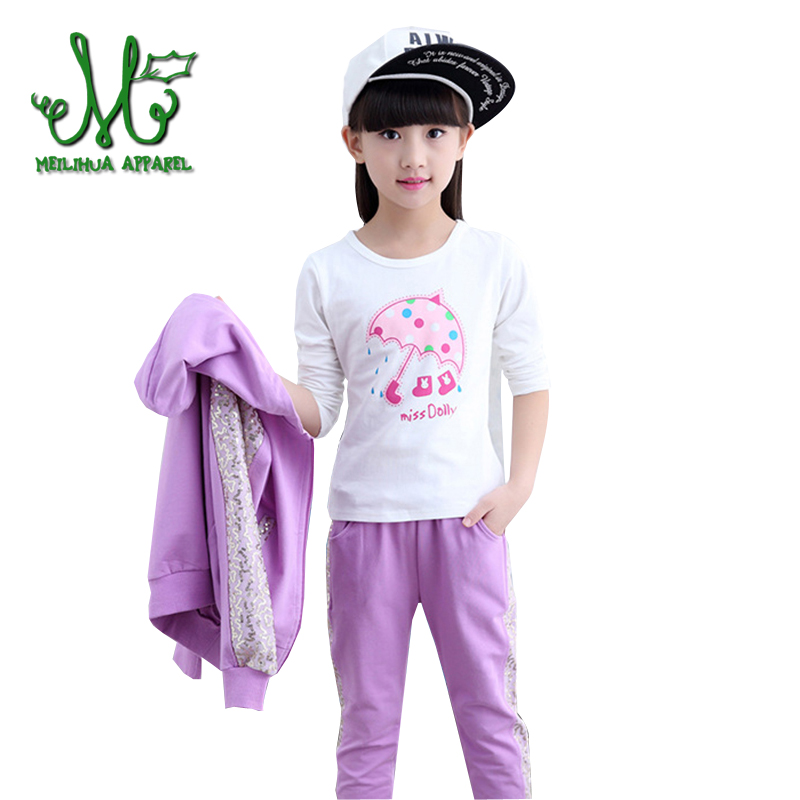 Teenage Girls' Clothing Set Spring Fall Fashion Girls Clothes Sports Suit Children 3 Pieces Tracksuits 4 6 8 10 12 14 Years stripes patterns teenage girls clothing