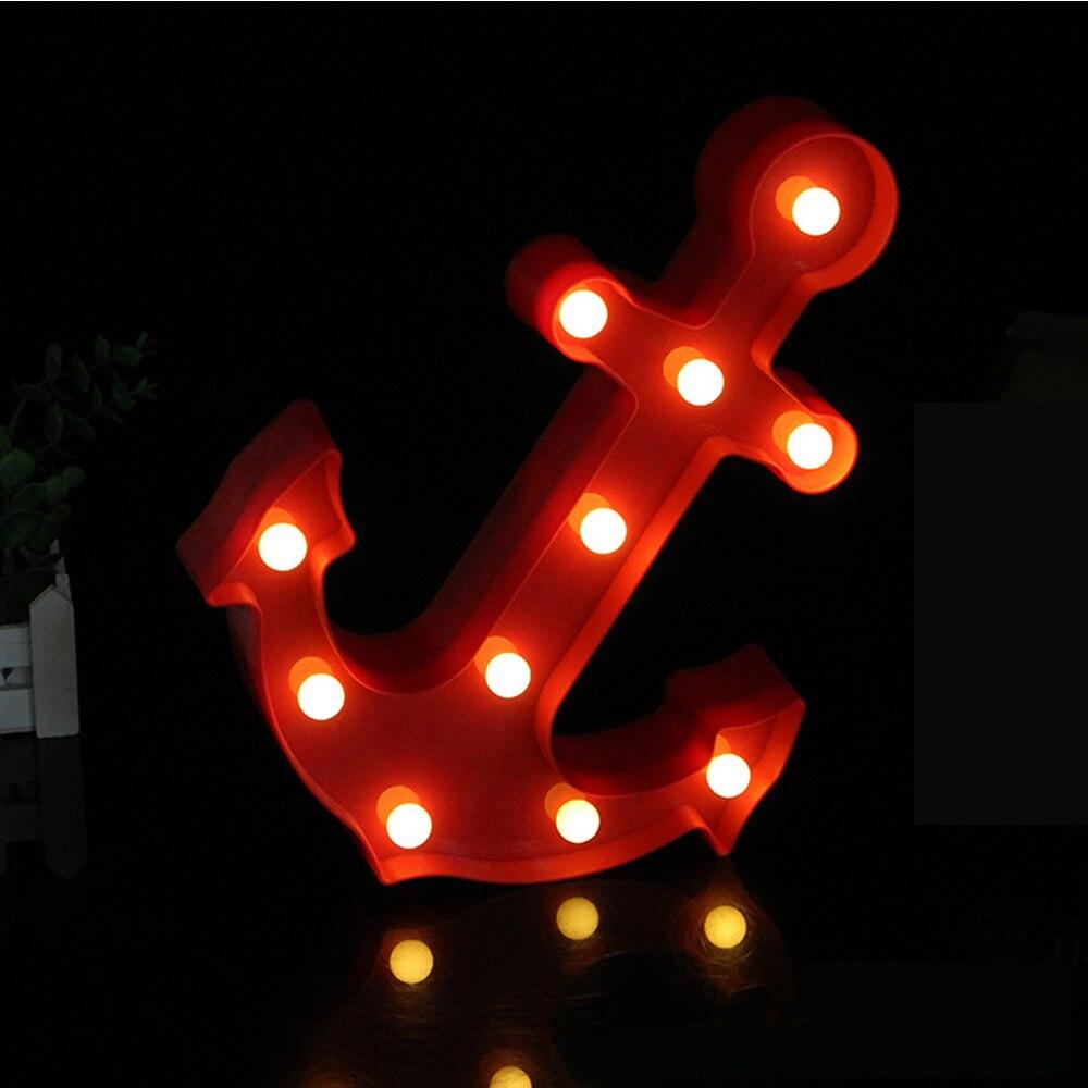 3D Светодиодные ночники шатер колокол якорь письмо ночника ребенок Спальня украшения Детская комната ночники дети Новый год игрушка
