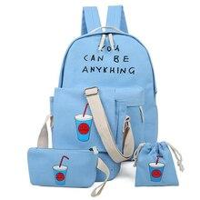 4 pcs/ensemble toile femmes sac à dos sacs d'école pour les adolescentes style preppy sac à dos caractère femmes sac ensemble étudiant sac à dos