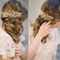 E15122903 New Austria Crystal Bridal Wedding Tiara Handmade Flower Cream Imitate Pearl Hair Combs Silver Plated