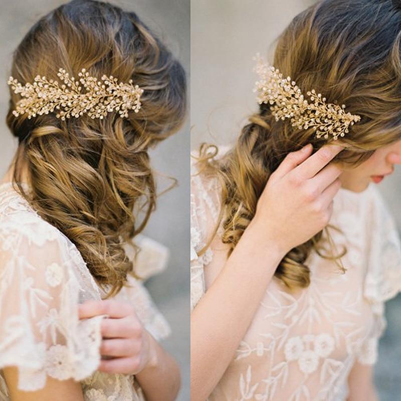 Prix pour Or Cristal En Métal Cheveux Peignes De Mariée Diadème De Mariage À La Main transparent cristal perles bandeaux Branches feuilles Coiffe