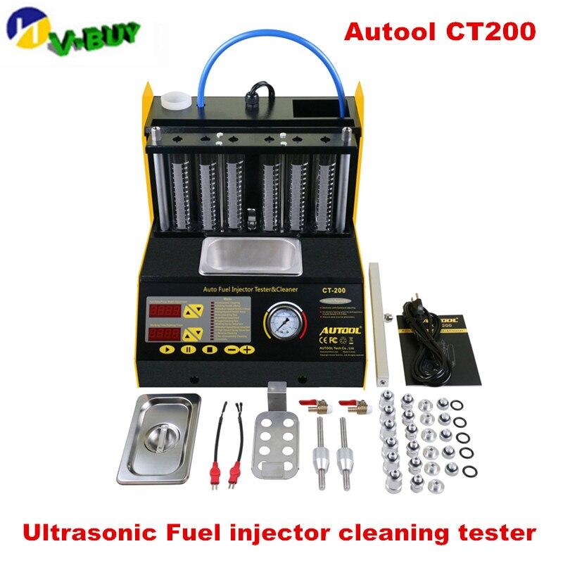 CT200 gasonline 6/4 cylindre voiture moto Auto ultrasons injecteur nettoyage testeur machine 220/110V mieux que le lancement CNC602A