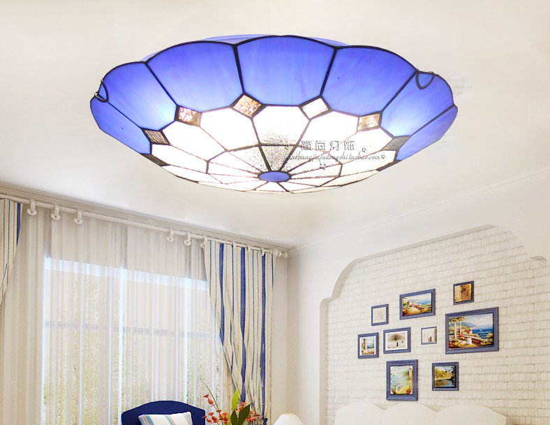 Tiffany Mediterranean creative Tiffany ceiling lamp entrance hall light balcony stair lamp kitchen lights Mediterranean lamp tiffany mediterranean style peacock natural shell ceiling lights lustres night light led lamp floor bar home lighting