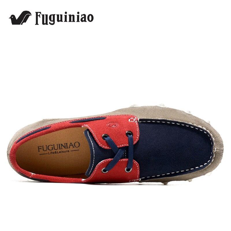 Darmowa dostawa! FUGUINIAO prawdziwej skóry wiosna/jesień mężczyźni płaskie buty/światło buty do jazdy samochodem/buty w stylu casual/mokasyny w Męskie nieformalne buty od Buty na  Grupa 2