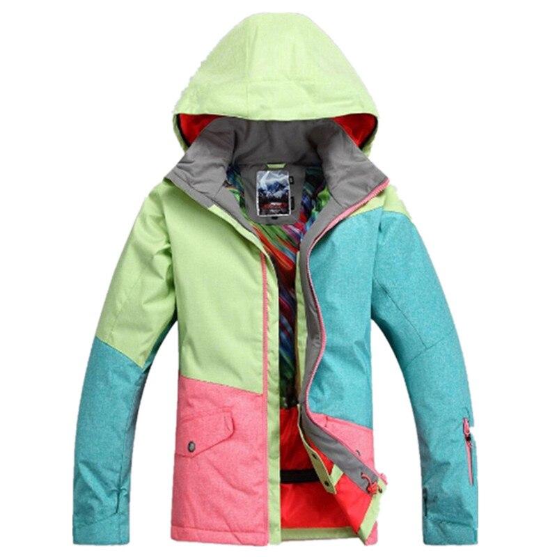 Gsou snow 30 градусов брендовая зимняя куртка для сноуборда для женщин Водонепроницаемая 10000 ветрозащитная цветная женская спортивная Лыжная ку... - 3