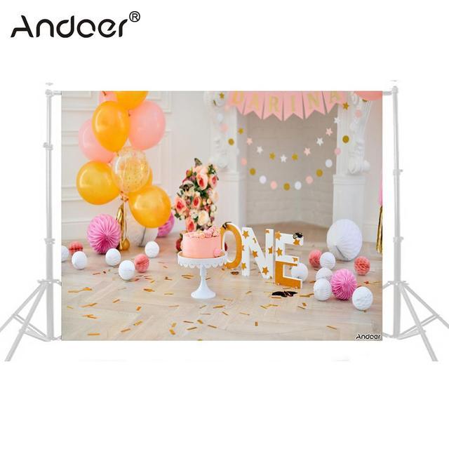 Andoer 2.1 * 1.5m/7 * 5ft First Birthday Backdrop Balloon Cake Photography Background Baby Kids Photo Studio Pros