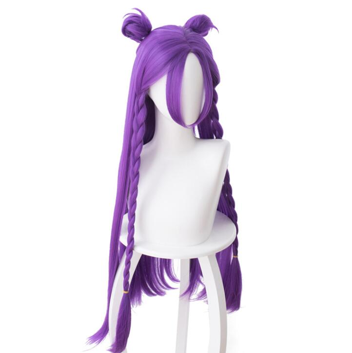 LOL K DA Kaisa Cosplay Wig for Women Long Straight Heat Resistant Synthetic Hair Game Costume Party Braided Wig Purple