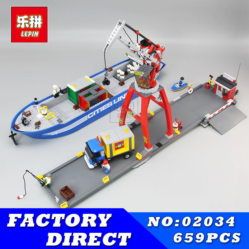 Lepin 02034 695pcs City Series Super Cargo Port Terminal Building Block Compatible with 7994 Brick Toy Children DIY Educational цена