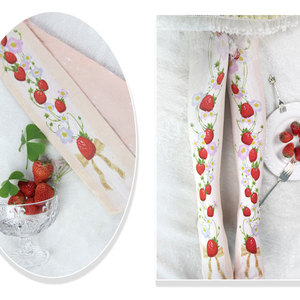 Image 2 - Branded Strawberry Garden & Star Printed Lolita Tights Sweet 80D Summer Pantyhose