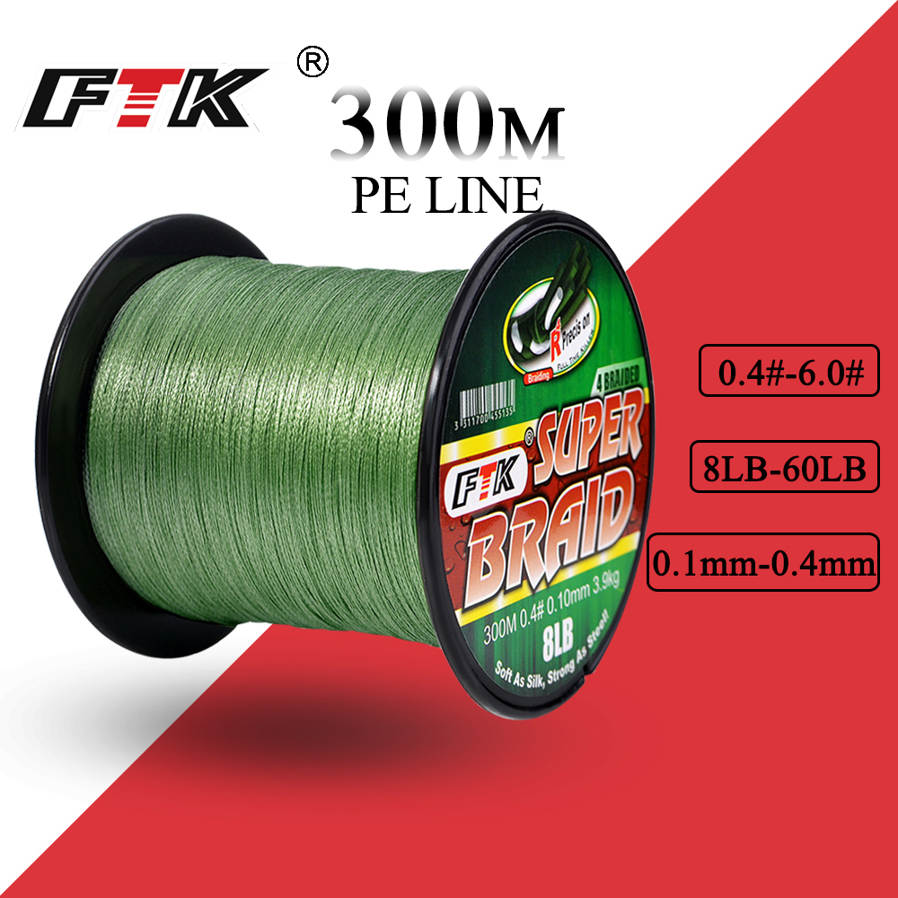 FTK Braided Wire 300M PE Braided Fishing Line 0.4-6.0 Code 4 Strands 8LB 10LB 20LB 60LB PE Braided Multifilament Fishing Line mooncase cross pattern flip pouch leather wallet slim stand чехол для samsung galaxy a3 hot pink